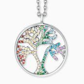 Collier Arbre de vie en argent avec zircone multicolore