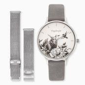 Parure montre fleur argent avec bracelet nubuk gris clair et bracelet de rechange mesh argent