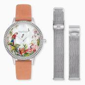 Parure montre Paradise argent sertie de pierres de zircone, cuir nubuck corail et bracelet de rechange en mesh argent